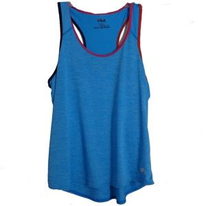 Fila Sport Top  Sz L Blue Racerback Athletic